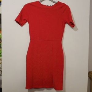 Red bodycon dress with small slit